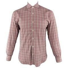 ISAIA Size M Burgundy & White Plaid Cotton Button Up Long Sleeve Shirt