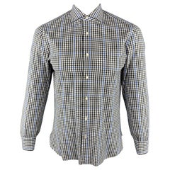 ISAIA Size M Gray & Blue Plaid Cotton Button Up Long Sleeve Shirt