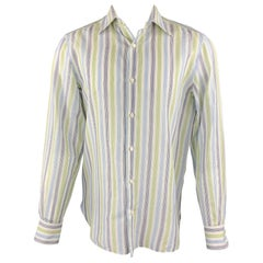 ISAIA Size M Navy & Green Plaid Cotton Button Up Long Sleeve Shirt