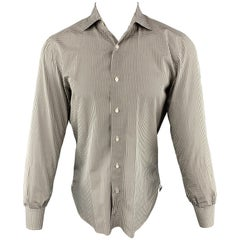 ISAIA Size M Olive & White Checkered Cotton Button Up Long Sleeve Shirt