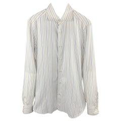 ISAIA Size M White Stripe Cotton Button Up Long Sleeve Shirt