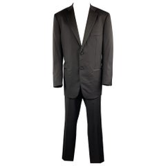 ISAIA Size US 44 / IT 54 Black Solid Lana Wool 38 x 34 Notch Lapel Tuxedo