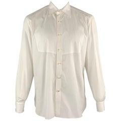 ISAIA Size XL White Solid Cotton Tuxedo Long Sleeve Shirt
