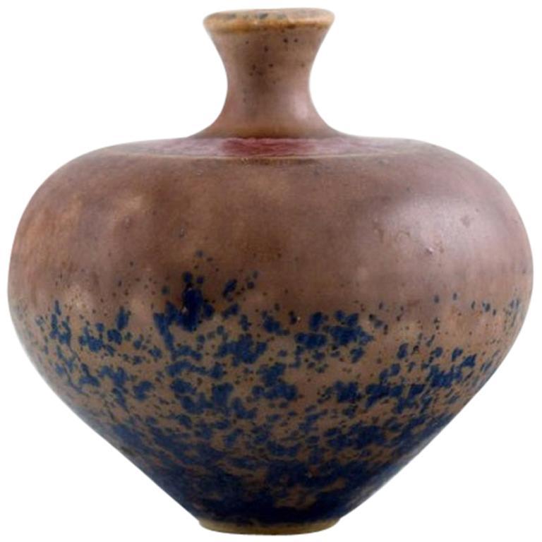 Isak Isaksson, Swedish Ceramist, Unique Vase in Glazed Ceramics, 1988
