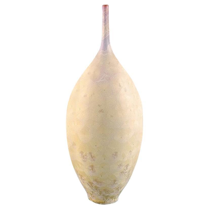 Isak Isaksson, Swedish Potter, Large Narrow Necked Unique Vase, circa 2010