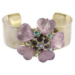 Isaky Paris Vintage Jewelled Silver Toned Bracelet