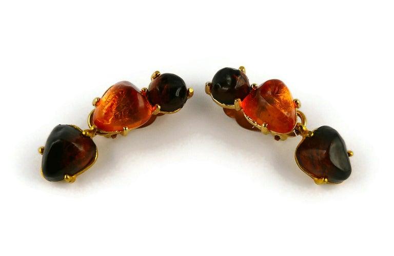 Women's Isaky Paris Vintage Orange & Brown Resin Cabochons Dangling Earrings For Sale