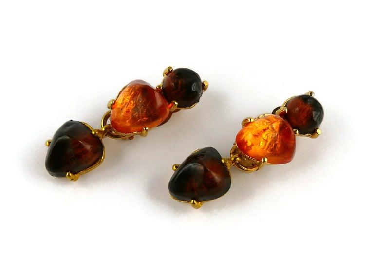 Isaky Paris Vintage Orange & Brown Resin Cabochons Dangling Earrings For Sale 1