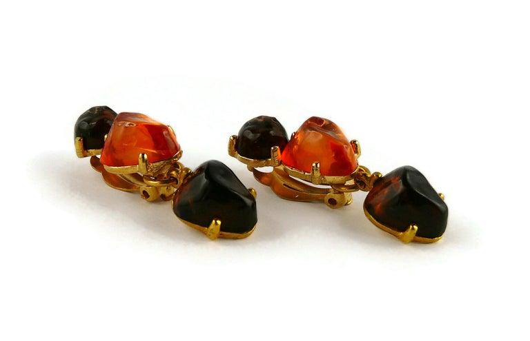 Isaky Paris Vintage Orange & Brown Resin Cabochons Dangling Earrings For Sale 2