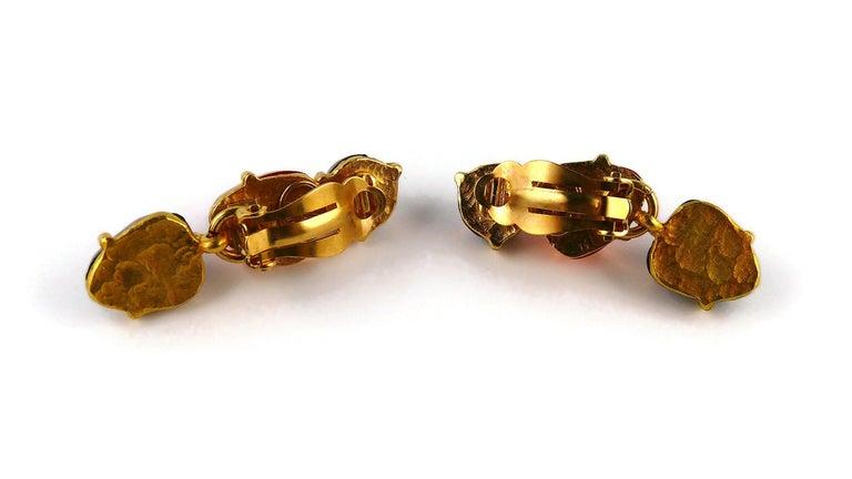 Isaky Paris Vintage Orange & Brown Resin Cabochons Dangling Earrings For Sale 4
