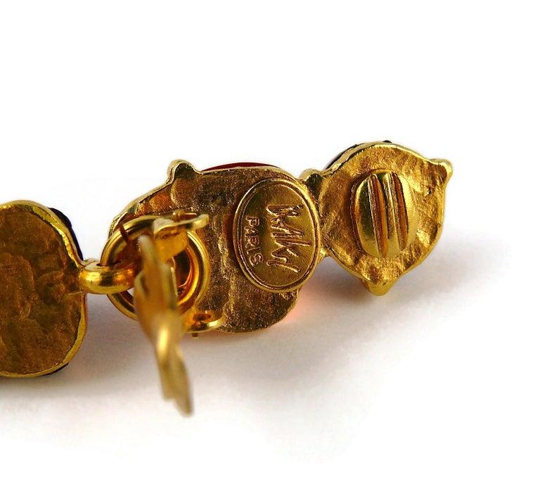 Isaky Paris Vintage Orange & Brown Resin Cabochons Dangling Earrings For Sale 5