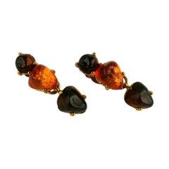 Isaky Paris Vintage Orange & Brown Resin Cabochons Dangling Earrings