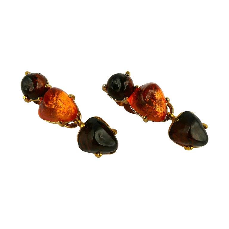 Isaky Paris Vintage Orange & Brown Resin Cabochons Dangling Earrings For Sale