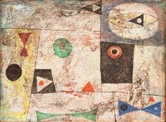 Geometric Abstract    (Style of Juan Miro, Modernism, Mid-century, Framed)