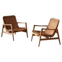 Isamu Kenmochi 'Attribution', Lounge Chairs, Wood, Rattan, Yamakawa Rattan 1960s