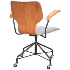Isamu Kenmochi Laminated Wood and Grey Fabric Swivel Office Chair, circa 1950