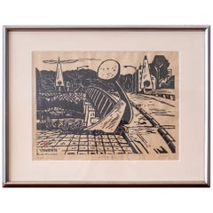 Isamu Noguchi Bridge Wood Block Print by Yutaka Kagimoto
