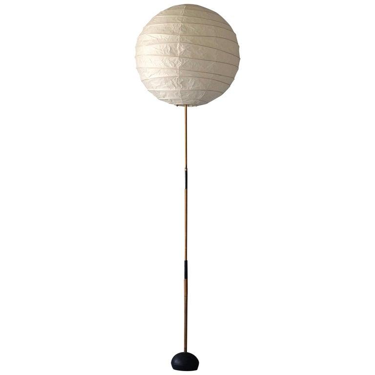 "Isamu Noguchi, Early ""Akari"" Floor Lamp, Washi Paper, Bamboo, Iron, Ozeki, 1979 For Sale"