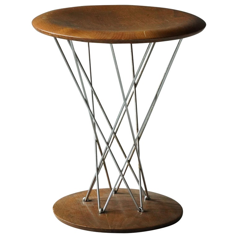 "Isamu Noguchi, Early ""Cyclone"" Stool, Maple, Chrome-Plated Steel, Knoll, 1950s For Sale"