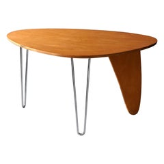 "Isamu Noguchi, Early ""Rudder"" Table, Birch, Steel, Herman Miller, 1950s"