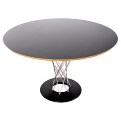 Isamu Noguchi for Alivar Black Wood and Metal Circular Table, Italy, 1980s