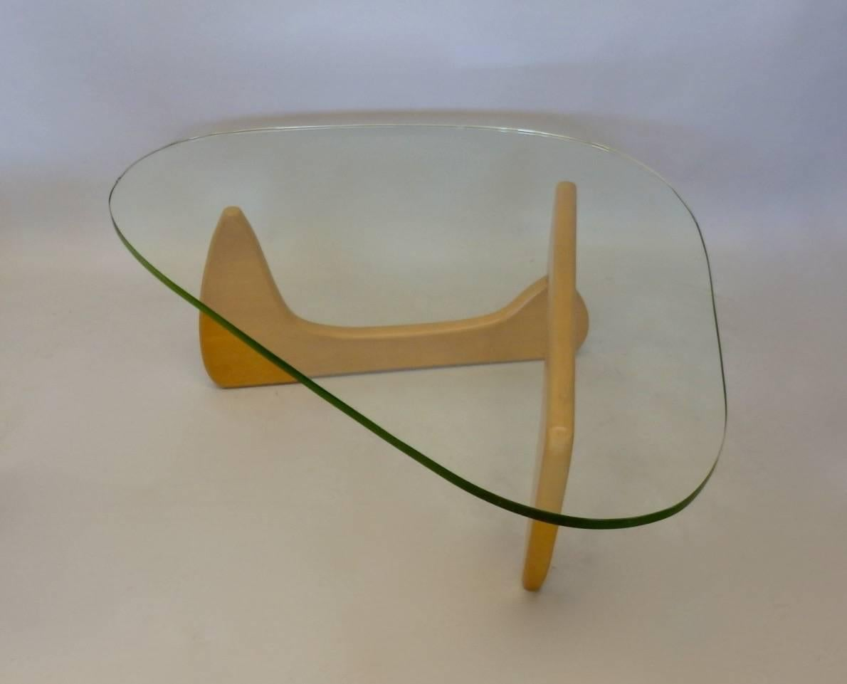 Original Early And Rare Iconic Isamu Noguchi Blond Base Cocktail Table.  Model IN 50
