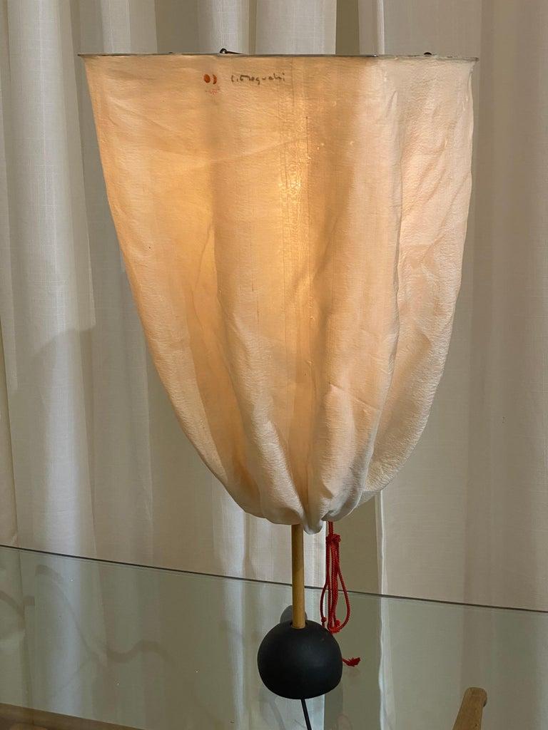 Mid-Century Modern Isamu Noguchi, Rare Table Lamp, Bamboo, Iron, Cord, Fabric, Ozeki, Japan, 1960s For Sale