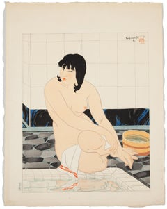 Toraji Ishikawa, Female Nude, After a Bath, Original Japanese Woodblock Print