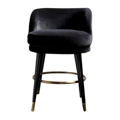 Isidoro Black Swivel Bar Stool by Dom Edizioni