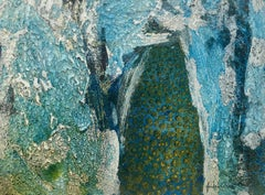 -Blue mountain colors- original abstract paper acrylic painting