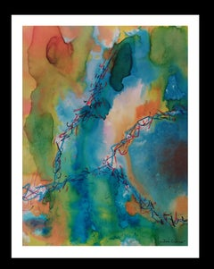 -Greens and roses colors- original abstract paper acrylic painting