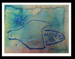 drops effect. fish original abstract acrylic paper painting