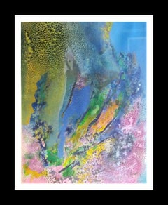 blue and pink drops abstract. original.acrylic paper painting
