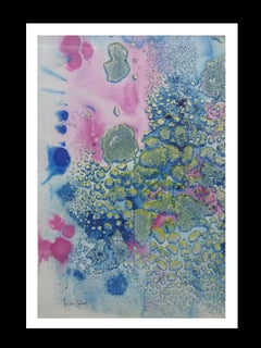 blue and pink drops  effect    original abstract acrylic paper painting