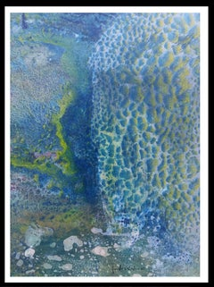 blue drops effect    original abstract acrylic paper painting