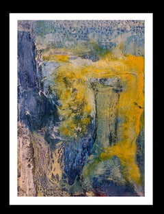Blue mountain colors- original abstract paper acrylic painting