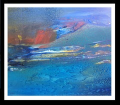 blue sea   original abstract acrylic canvas painting