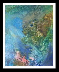 green and blue  original abstract acrylic canvas painting