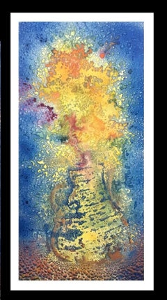 guitar. fire- original abstract acrylic canvas painting