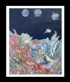 I. Cahue- The sea and the moon. original abstract acrylic canvas painting.