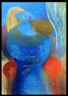 Maternity in Blues- original abstract acrylic canvas painting