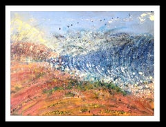 Sea and baech  abstract. original. acrylic canvas painting