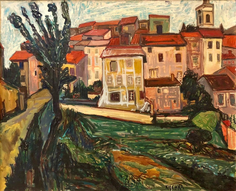 Isis Kischka Landscape Painting - French Modernist LANDSCAPE WITH HOUSES School of Paris Oil Painting