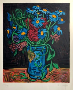 French Modernist Expressionist Bold Floral School of Paris FLOWERS Lithograph