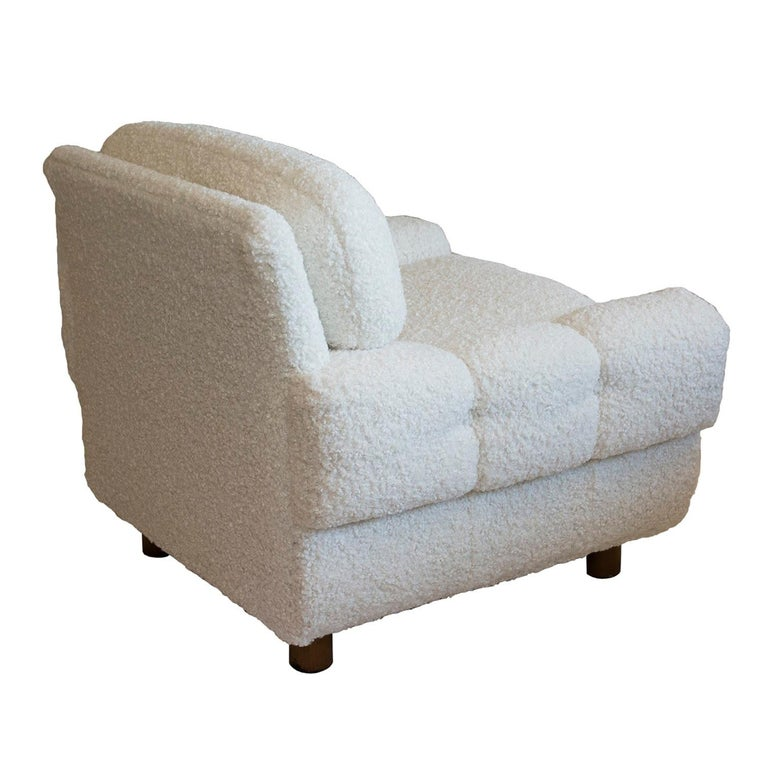 Scandinavian Modern ISKU Pair of Club Chairs Made in Finland in Faux Shearling For Sale