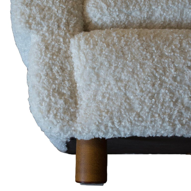 ISKU Pair of Club Chairs Made in Finland in Faux Shearling In Excellent Condition For Sale In Wilton, CT