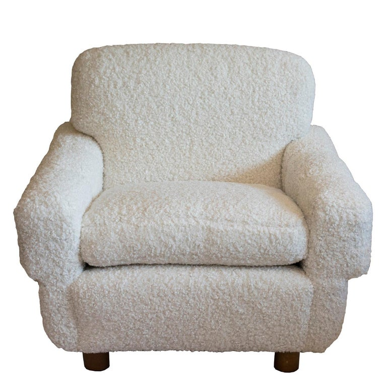 Late 20th Century ISKU Pair of Club Chairs Made in Finland in Faux Shearling For Sale