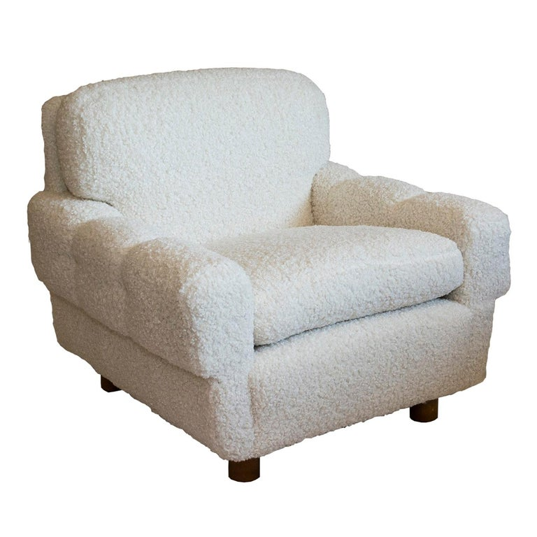 Animal Skin ISKU Pair of Club Chairs Made in Finland in Faux Shearling For Sale