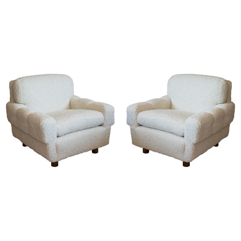 ISKU Pair of Club Chairs Made in Finland in Faux Shearling For Sale