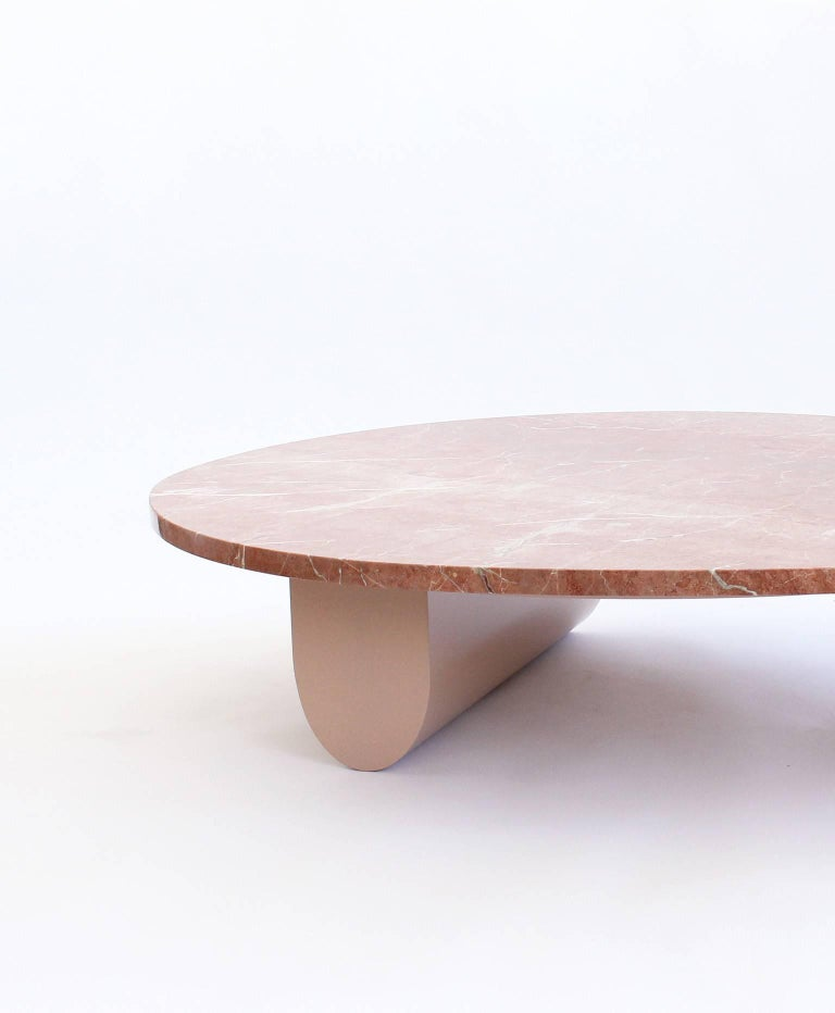 American Isla Coffee or Cocktail Table, Rojo Alicante Marble and Lacquered Wood For Sale